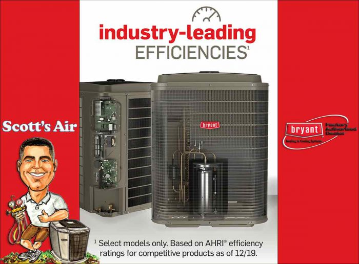 """air conditioner with the text """"industry leading efficiencies. There is a Scott's Air logo and and Bryant logo"""