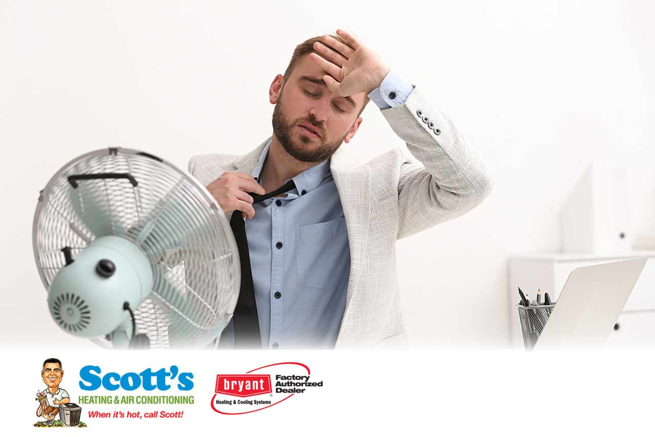Overheated man loosening his collar and tie in an office indicating it's time for a new AC unit.